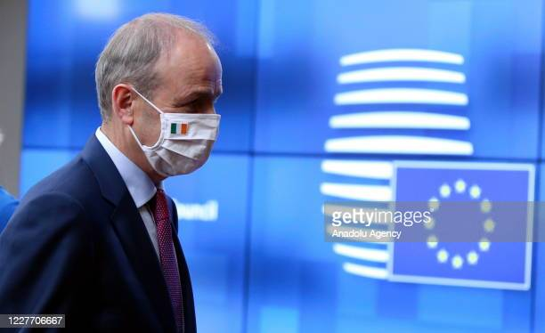 Irish Prime Minister Micheal Martin arrives to attend the fourth day of an EU summit in Brussels Belgium on July 20 2020 Leaders of the EU member...