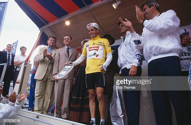 Irish racing cyclist Stephen Roche in the leader's yellow jersey during the Tour de France July 1987 Roche went on to win the tour