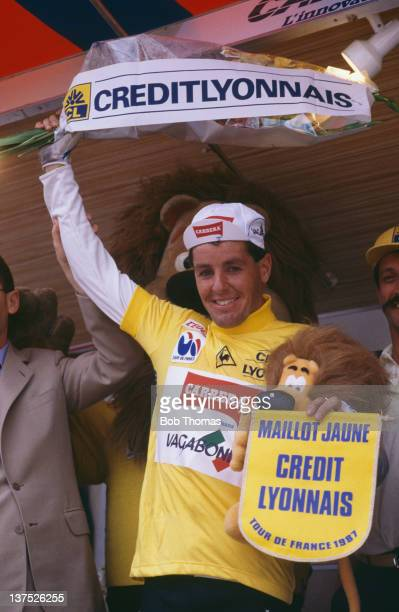 Irish racing cyclist Stephen Roche in the leader's yellow jersey during the Tour de France, July 1987. Roche went on to win the tour.