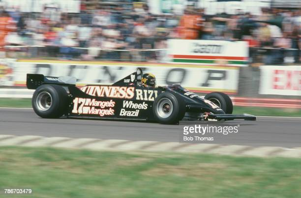 Irish racing driver Derek Daly drives the March Grand Prix Team March 811 Ford V8 to finish in 7th place in the 1981 British Grand Prix at...