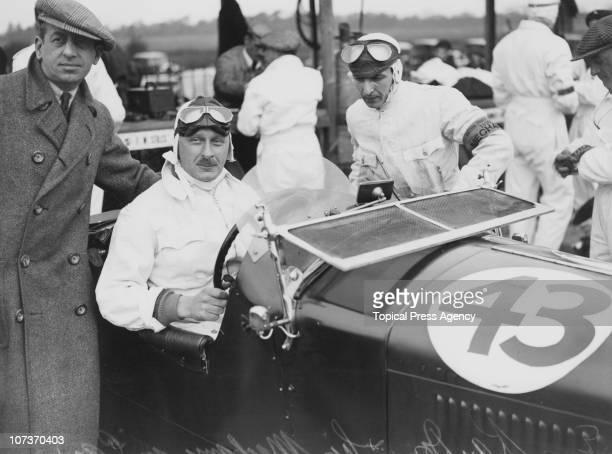 Irish racing driver Kaye Don at the wheel of an Alfa Romeo at the Junior Car Club's Double 12Hour Race at the Brooklands motor racing circuit in...