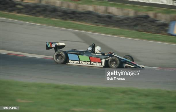 Irish racing driver Tommy Byrne drives the Ralt RT3C/81 Toyota Hesketh of Murray Taylor Racing to finish in first place to win the 1982 Marlboro...