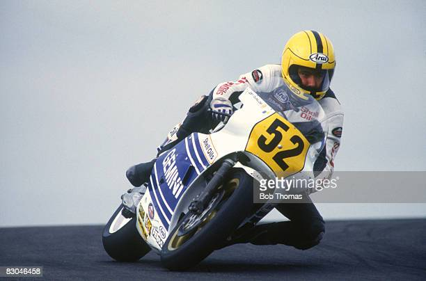Irish racing motorcyclist Joey Dunlop competing in the British motorcycle Grand Prix at Donington Park August 1987