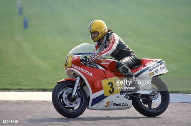 Irish racing motorcyclist Joey Dunlop riding a Honda in the Transatlantic Challenge at Donington Park 22nd April 1984