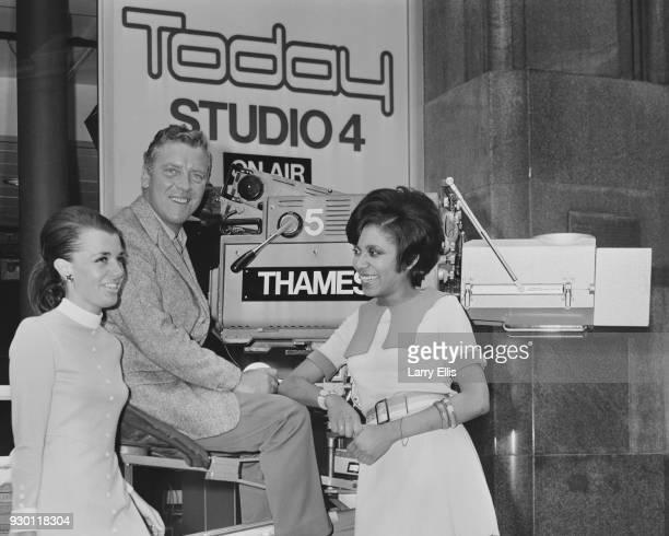 Irish radio and television presenter Eamonn Andrews Jamaican author Barbara BlakeHannah and British reporter Jane Probyn at Thames Television's...