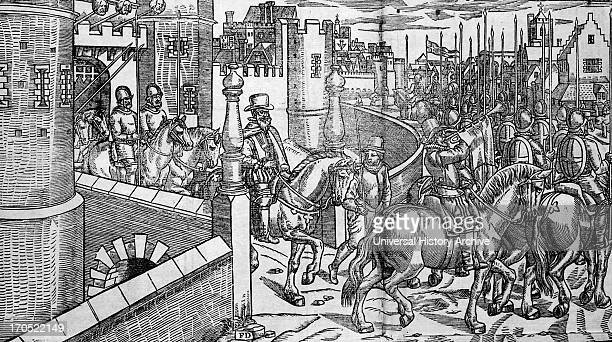 Irish rebels heads on spikes over Dublin Castle 16th Century