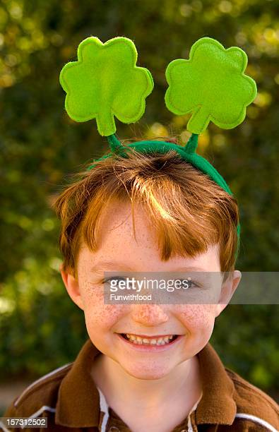 Irish Redhead & Freckles Child Wearing  St. Patrick's Day Clover Headband