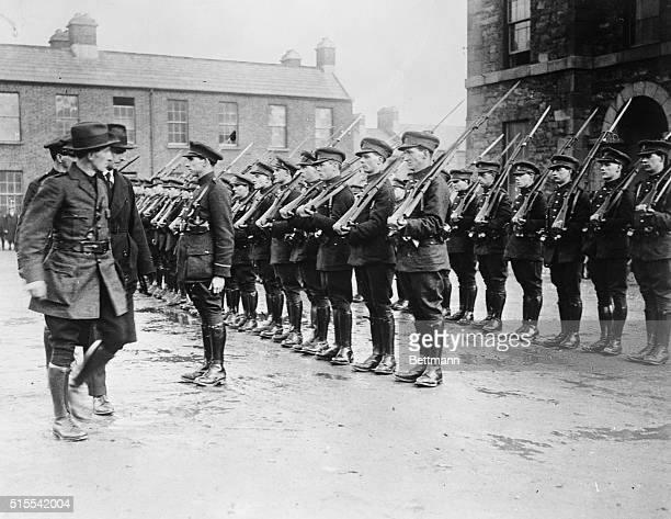 Irish Republican Army Takes Over Dublin Barracks Party of soldiers in front of the barracks