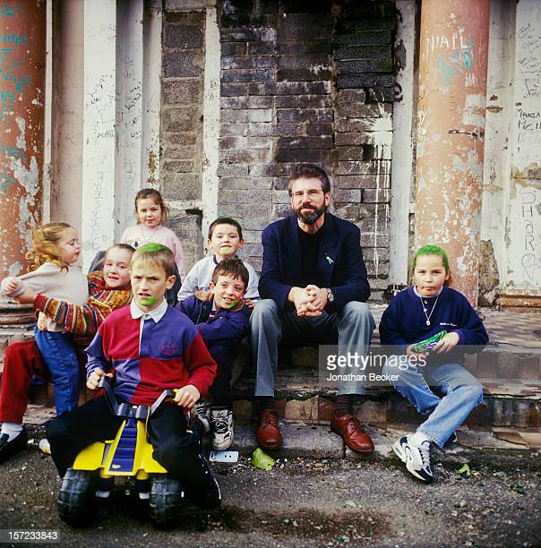 Irish republican politician Gerry Adams is photographed for Vanity Fair Magazine on October 19, 1996 in Belfast, Northern Ireland. PUBLISHED IMAGE....