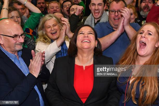 Irish republican Sinn Fein party leader Mary Lou McDonald celebrates with her supporters after she takes the Dublin Central constituency on the first...