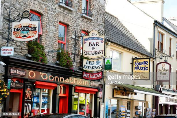 irish restaurant and shop signs, kenmare. - ring of kerry stock photos and pictures
