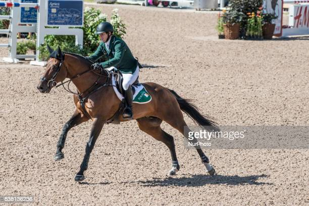 Irish rider Cian O'Connor on Good Luck rides in the qualifying competition of the 2017 FEI European Championships at Ullevi Stadium in Gothenburg...