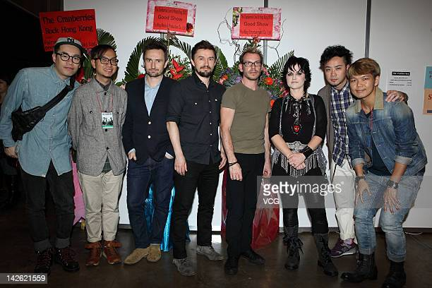 Irish rock band The Cranberries pose with fans after their concert at Hong Kong Convention and Exhibition Center on April 8 2012 in Hong Kong Hong...