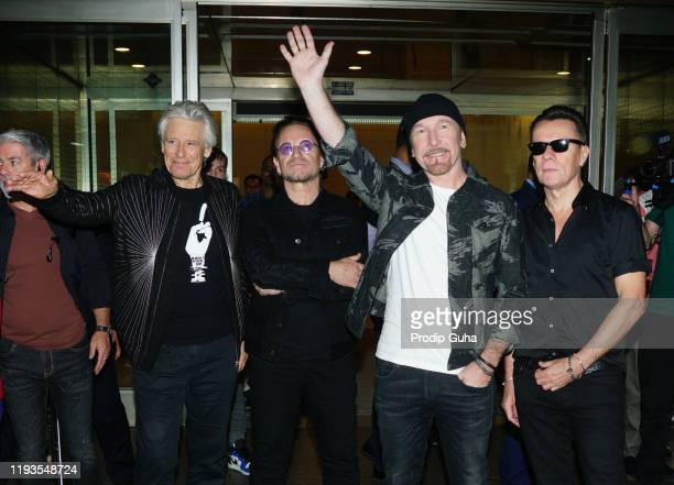 Irish rock band U2 arrived Mumbai internation airport for the Joshua Tree Tour on December 12 2019 in Mumbai India U2 band will perform at DY Patil...