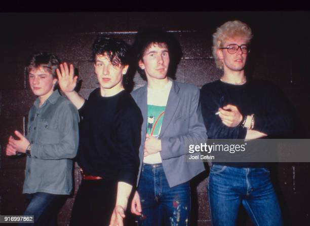 Irish rock band U2 on their first US tour pose backstage March 20 1981 at the Old Waldorf in San Francisco California Left to right Adam Clayton Bono...