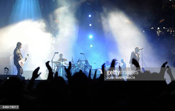 Irish rock band U2 perform on stage during the 360° Tour at Ciudad de La Plata stadium in La Plata Argentina on April 2 2011 AFP PHOTO / JUAN...