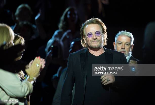 Irish rock band U2's singer, Bono, arrives to take part in the Donostia Award ceremony during the 67th San Sebastian Film Festival, in the northern...