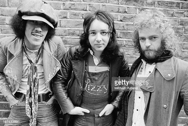 Irish rock group Thin Lizzy 1st February 1973 Left to right bassist and singer Phil Lynott drummer Brian Downey and guitarist Eric Bell