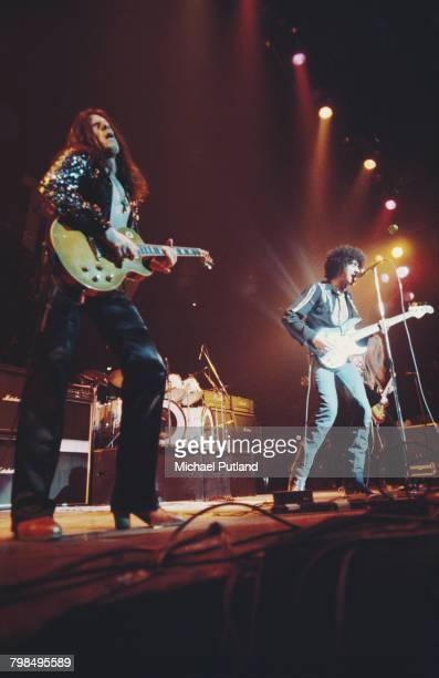 Irish rock group Thin Lizzy perform live on stage at Madison Square Garden in New York during their US Tour on 5th February 1977 The band are from...