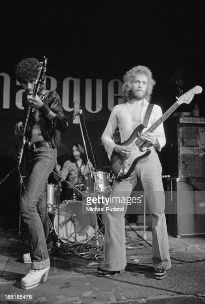 Irish rock group Thin Lizzy performing at the Marquee Club London 13th November 1973 Left to right Phil Lynott Brian Downey and Eric Bell
