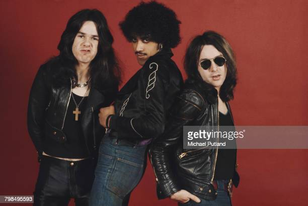 Irish rock group Thin Lizzy posed together for a studio group shot in London in 1974 The band are from left to right guitarist Gary Moore bass...