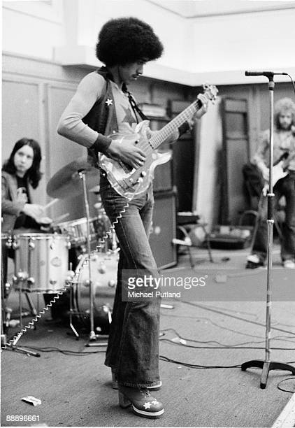 Irish rock group Thin Lizzy rehearsing in London 1973 Left to right drummer Brian Downey bassist and singer Phil Lynott and guitarist Eric Bell