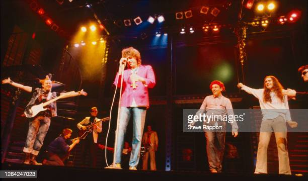 Irish Rock musician Bob Geldof and cast members of the 'Young Ones' television show perform during Comic Relief, Shaftesbury Theatre, London,...