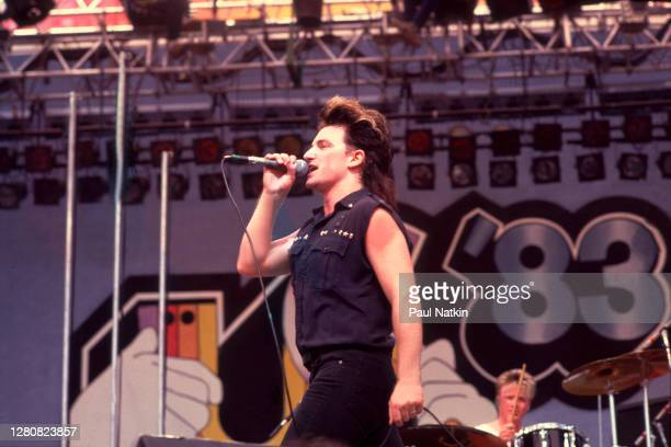 Irish Rock musician Bono , of the group U2, performs onstage during the US Festival, Ontario, California, May 30, 1983.