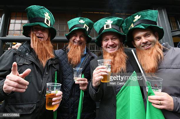 Irish rugby fans pose for a photograph outside a pub close to the Millennium Stadium where Ireland are playing Argentina in the quarter finals of the...