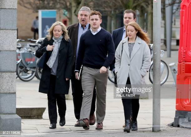 Irish rugby player Paddy Jackson arrives at court in Belfast on January 30 2018 accused of raping a woman Ireland rugby players Paddy Jackson and...