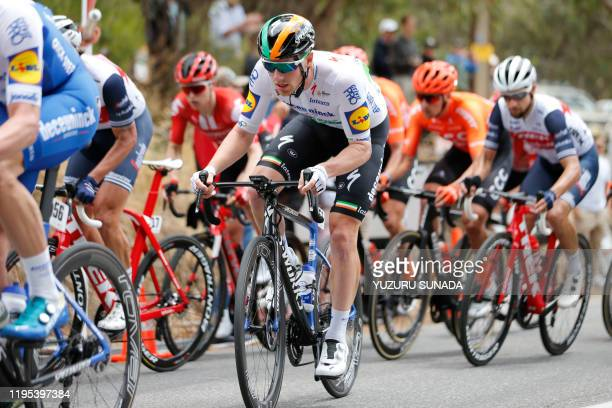 Irish Sam Bennett of Deceuninck - Quick-Step pictured in action during the third stage of the Tour Down Under cycling race, 131km from Unley to...