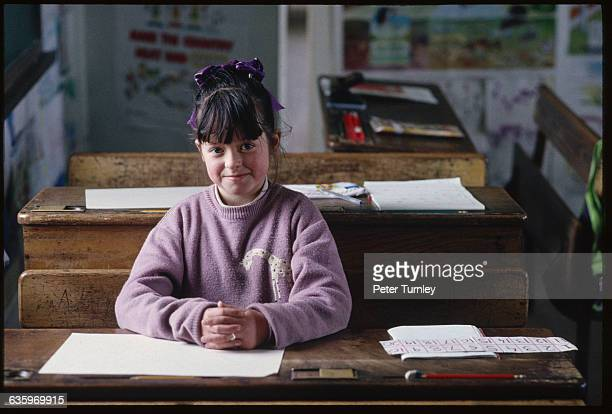 Irish School Girl at Her Desk