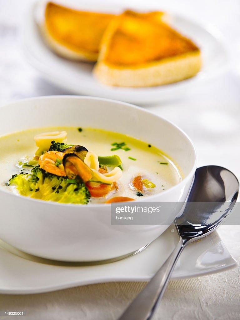 Irish seafood chowder : Stock Photo