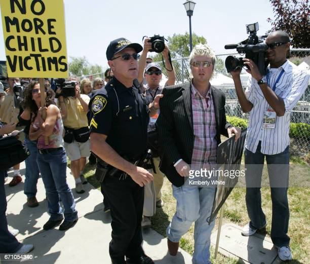 Irish Sean O'Kane a supporter of pop singer Michael Jackson is briefly detained by police after creating a disturbance at the Santa Barbara County...