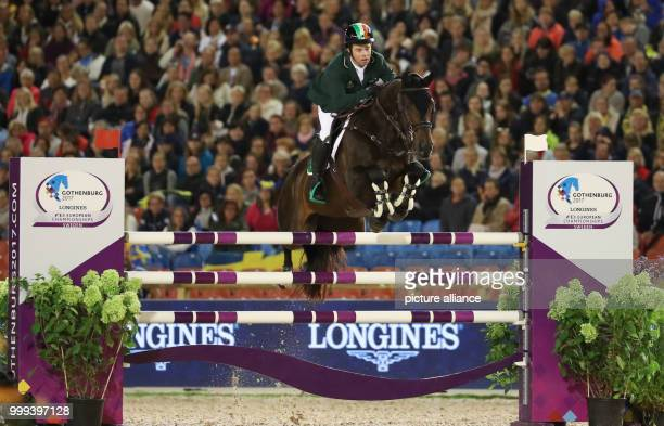 Irish show jumper Cian O'Connor on horse Good Luck in action during the Team Show Jumping of the FEIEuropean Championships 2017 in Gothenburg,...