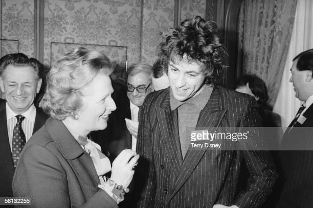 Irish singer and Live Aid organizer Bob Geldof with British Prime Minister Margaret Thatcher, 28th February 1985.