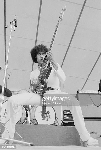 Irish singer and musician Phil Lynott performing with Irish rock group Thin Lizzy at the Reading Festival 24th August 1974