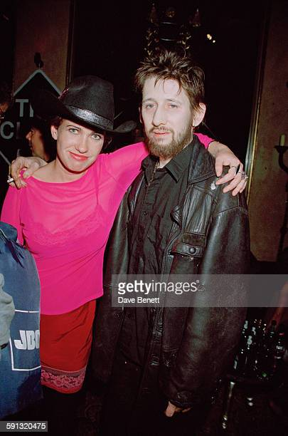 Irish singer and musician Shane MacGowan with his girlfriend journalist Victoria Mary Clarke at a party for the documentary film 'The Clash Westway...