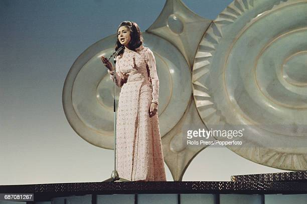 Irish singer Angela Farrell performs the song 'One Day Love' on stage for Ireland in the 1971 Eurovision Song Contest at the Gaiety Theatre in Dublin...