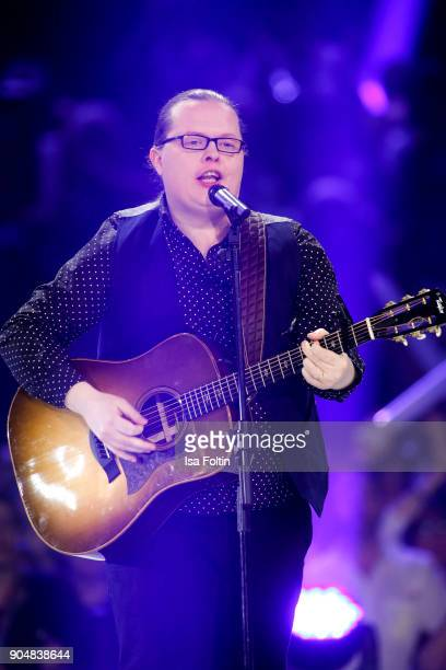 Irish singer Angelo Kelly performs at the 'Schlagerchampions Das grosse Fest der Besten' TV Show at Velodrom on January 13 2018 in Berlin Germany