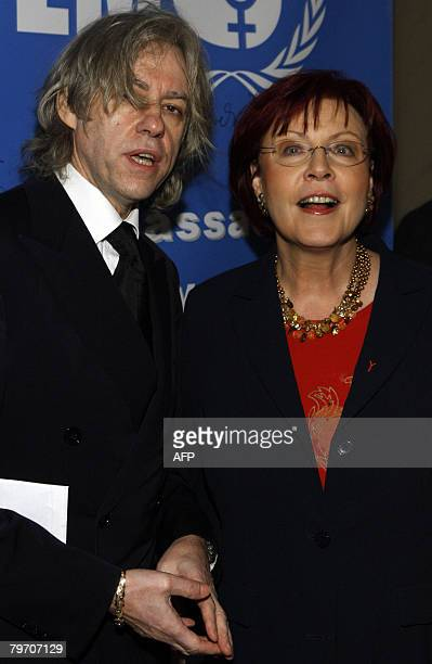 Irish singer Bob Geldof and German Economic Cooperation and Overseas Development Minister Heidemarie Wieczorek-Zeul arrive on the red carpet for the...
