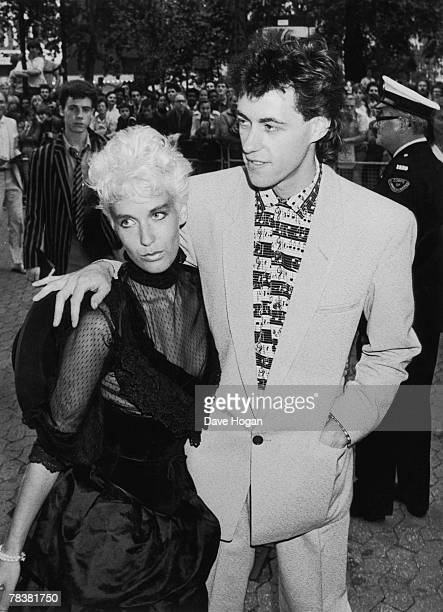 Irish singer Bob Geldof arrives at the Empire Leicester Square for the premiere of Pink Floyd's 'The Wall' with his girlfriend Paula Yates 15th July...