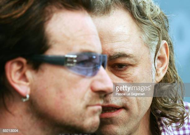 Irish singer Bono and Sir Bob Geldof are seen during a press briefing at the end of the G8 summit on July 8, 2005 in Gleneagles. World leaders...