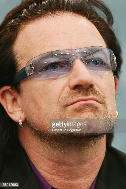 Irish singer Bono holds a press briefing at the end of the G8 summit on July 8, 2005 in Gleneagles, United Kingdom. World leaders completed their...