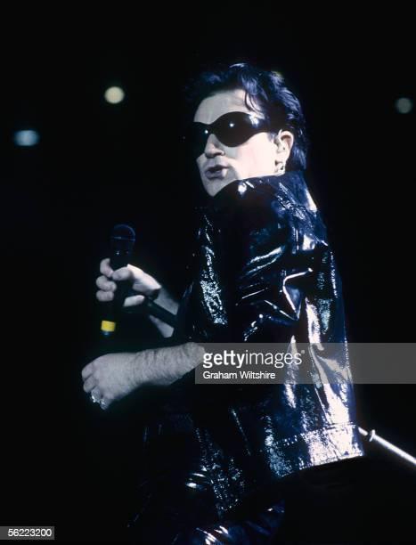 Irish singer Bono of U2 on stage at Wembley Stadium London 1993