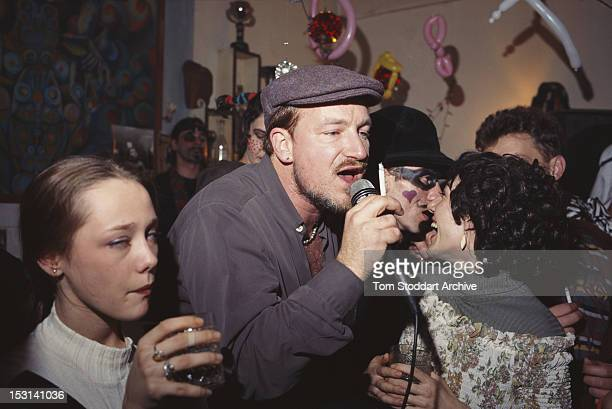 Irish singer Bono performing at a new year's eve party at a restaurant in Sarajevo BosniaHerzegovina 31st December 1995