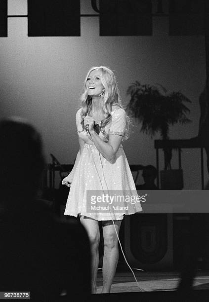 Irish singer Clodagh Rodgers performing on BBC TV London 1970