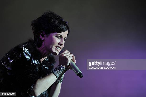 Irish singer Dolores O'Riordan of Irish band The Cranberries performs on stage during the 23th edition of the Cognac Blues Passion festival in Cognac...