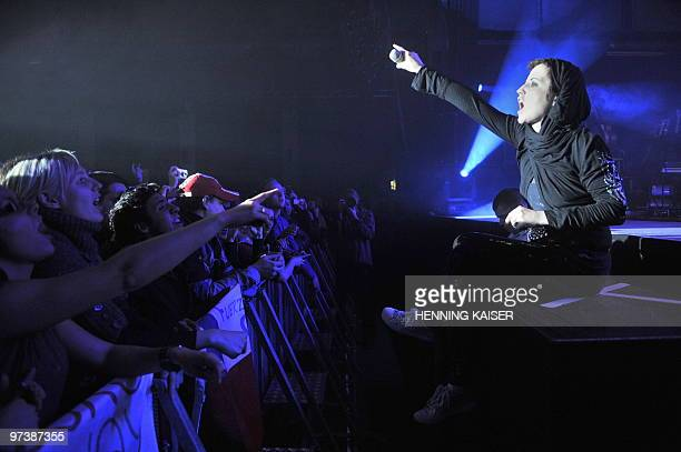 Irish singer Dolores O'Riordan of Irish rock band 'The Cranberries' performs on stage in Cologne western Germany on March 2 2010 This was the first...