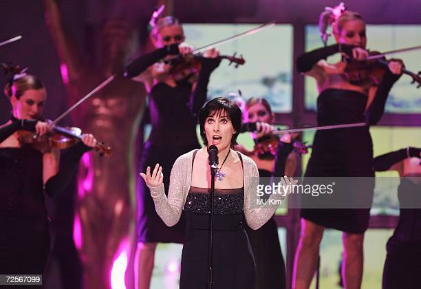 Irish singer Enya performs on stage during the 2006 World Music Awards at Earls Court on November 15 2006 in London